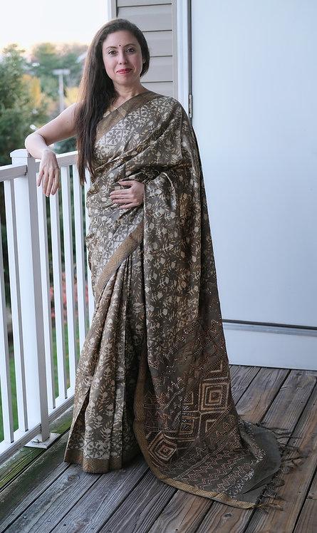 Exclusive Dabu Print Embroidery and Cut Work Tussar Silk Saree in Brown