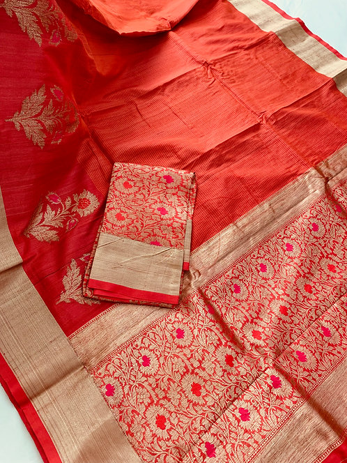 Pure Tussar Banarasi Saree in Orange and Brushed Gold