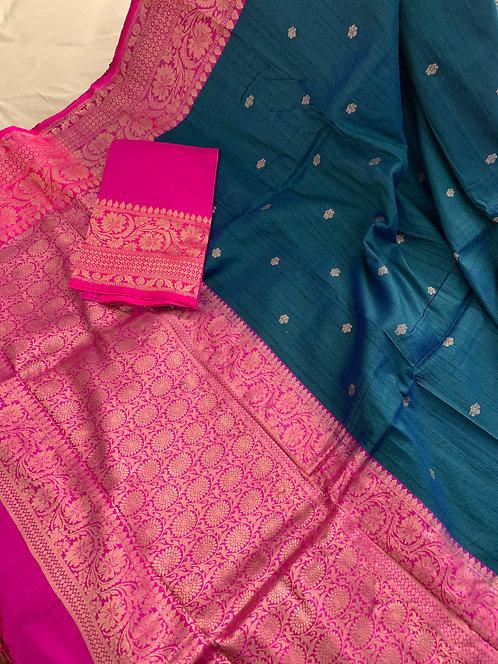 Pure Tussar Banarasi Saree in Peacock Blue and Hot Pink