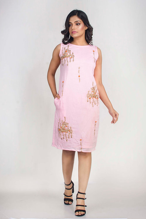Hand Embroidered Sleeveless Chanderi Dress in Size Small