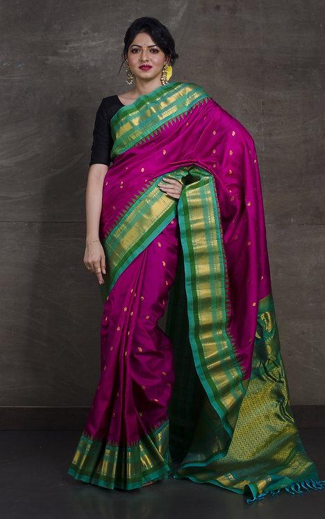 Gadwal Silk Saree in Magenta and Sea Green