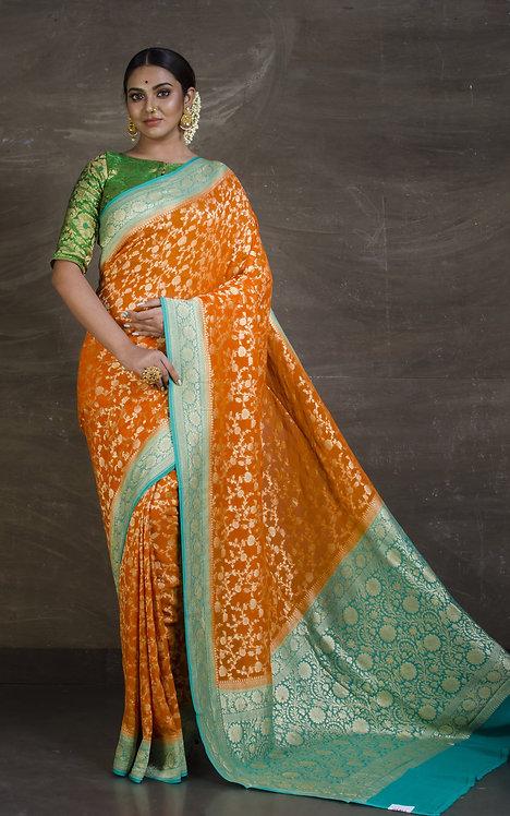 Pure Khaddi Georgette Jaal Banarasi Saree in Apricot Orange and Sea Green