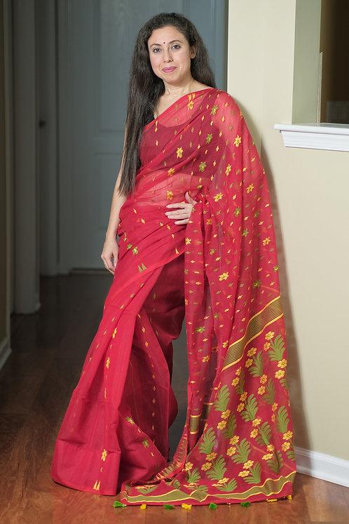 Soft Jamdani Saree in Red, Green and Yellow