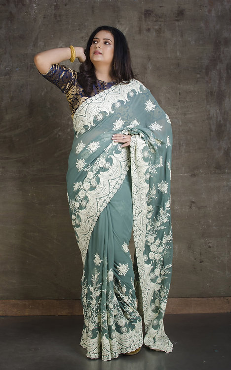 Lucknow Chikankari Designer Saree in English Green and White