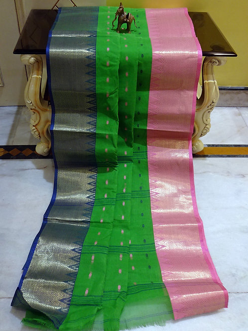 Bengal Handloom Cotton Saree with Starch in Green, Pink, Blue and Gold
