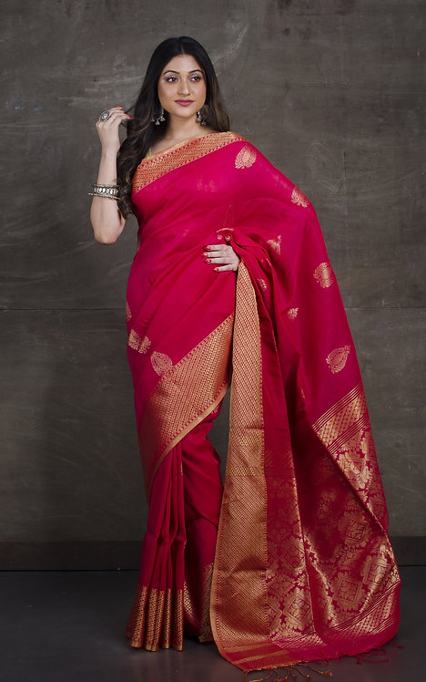 Pure Cotton Linen Saree in Hot Pink and Gold