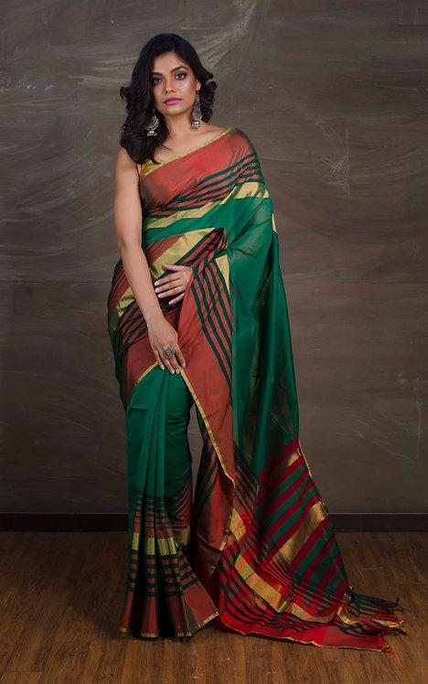 Maheshwari Cotton Silk Saree in Dark Green and Red