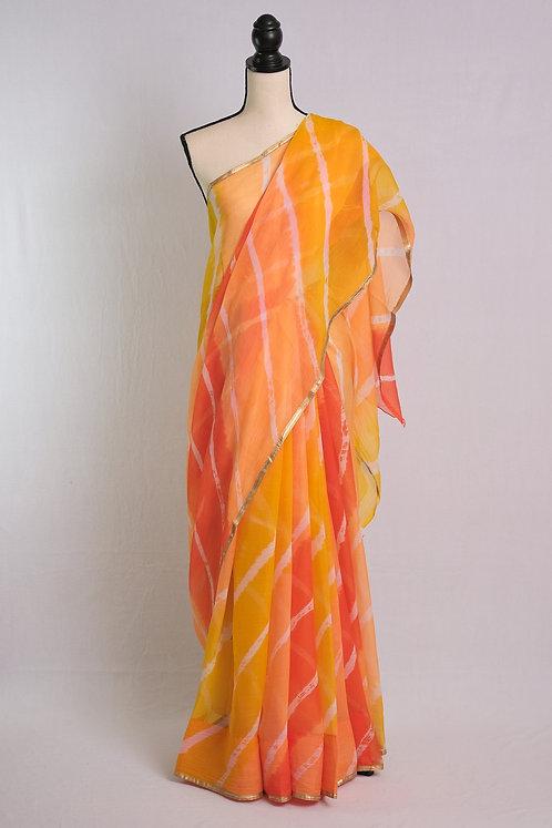 Chiffon Leheriya Saree in Orange, Yellow and White