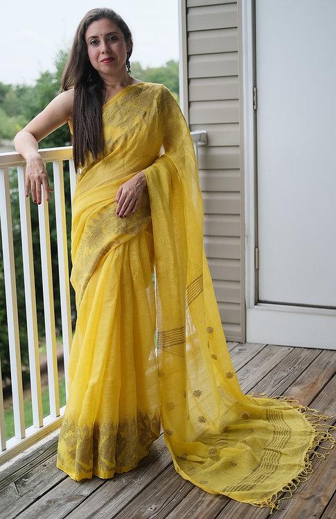 Pure Linen Jamdani Saree in Bright Yellow and Gold