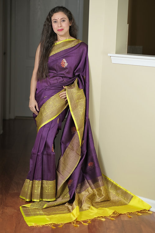 Pure Tussar Minakari Banarasi Saree in Purple and Yellow