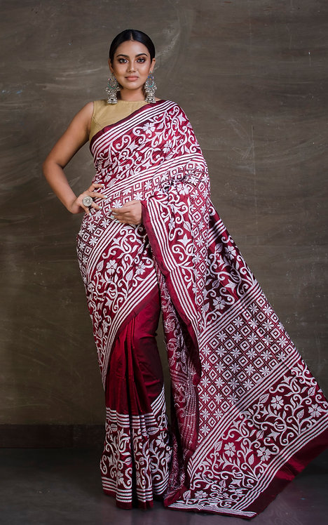Hand Work Kantha Saree on Pure Silk in Maroon and Off White