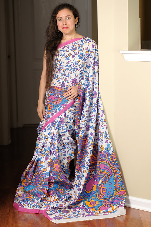 Soft Mul Cotton Saree in White, Blue and Pink