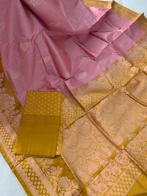 Pure Banarasi Katan Silk Saree in English Pink and Mustard Yellow