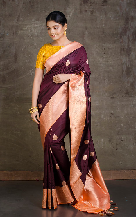 Pure Katan Banarasi Silk Saree in Wine and Peach