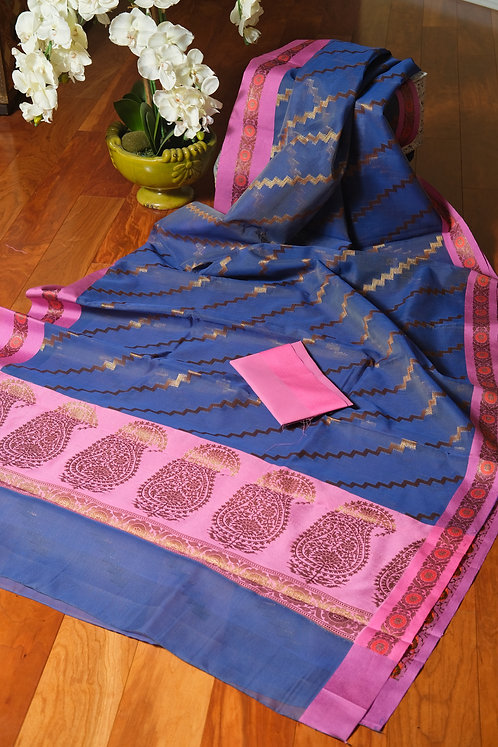 Semi Organza Banarasi Saree in English Blue and Antique Gold