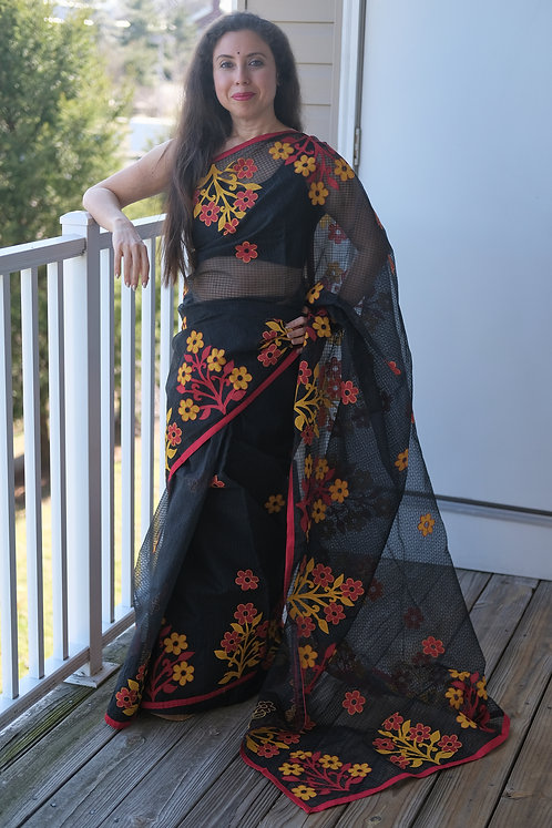 Cotton Resham Kota Saree with Aplic Work in Black and Red