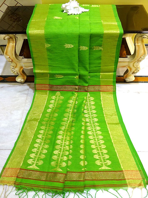 Self Kota Check Blended Cotton Banarasi Saree in Parrot Green and Gold