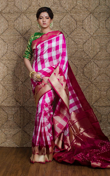 Premium Quality Checks Banarasi Silk Saree in White, Pink and Red