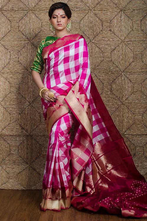 Premium Quality Checks Banarasi Silk Saree in White, Pink and Red