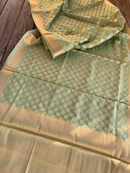 Art Silk Banarasi Dupatta in Sea Green and Gold