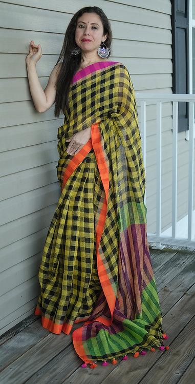 Gamcha Linen Saree in Yellow and Black
