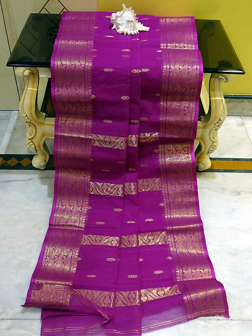 Bengal Handloom Cotton Saree with Starch in Purple and Gold