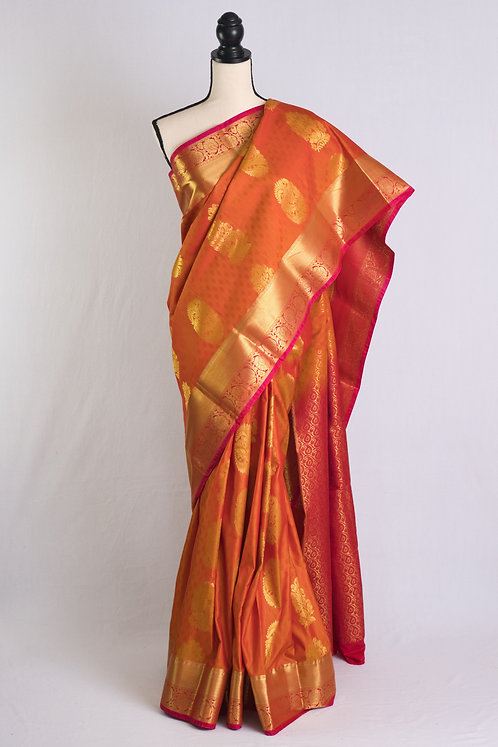 Art Silk Kanjivaram Saree in Orange, Pink and Gold