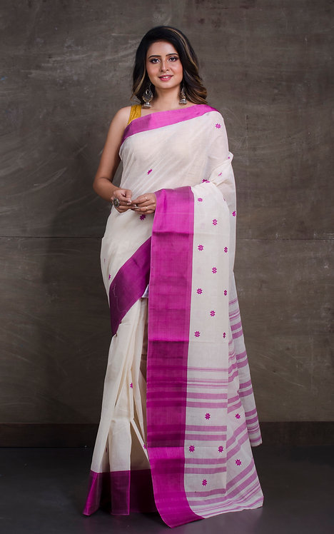 Bengal Handloom Cotton Saree with Starch in White and Purple