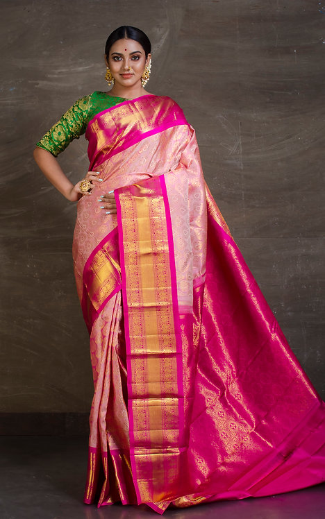 Pure Kanjivaram Silk Saree in Baby Pink and Dark Pink