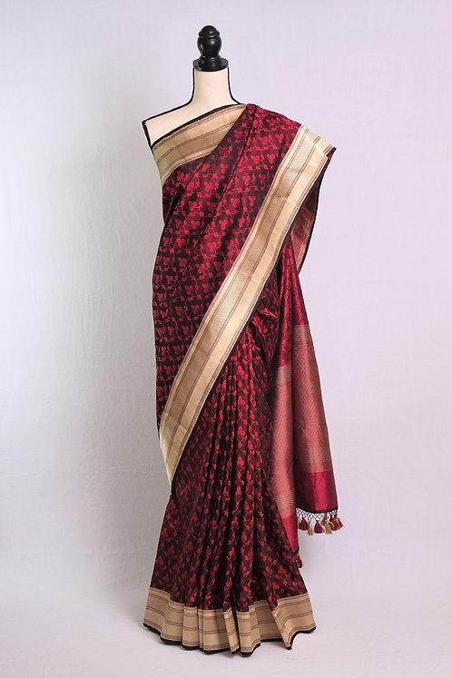 Exclusive Satin Silk Banarasi Tanchoi Saree in Dark Brown and Red