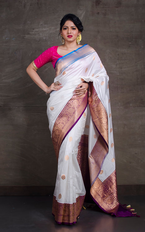Pure Katan Banarasi Silk Saree with Ganga Jamuna Border in White, Blue and Wine