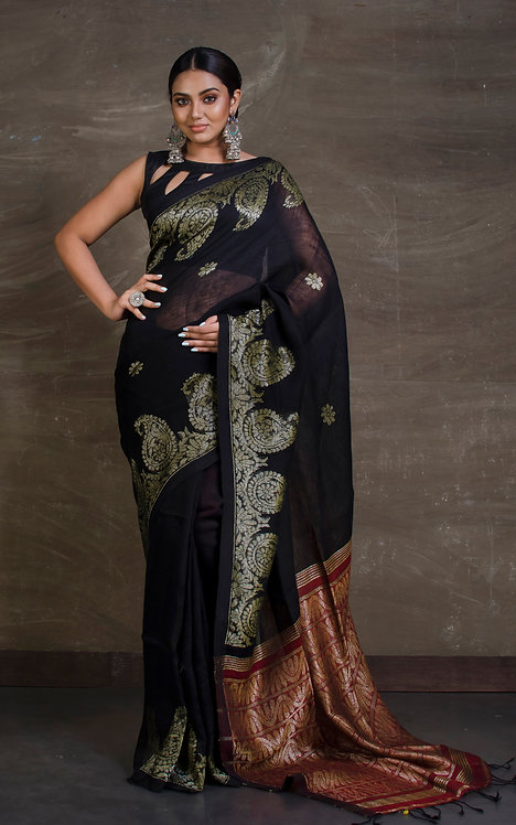 Pure Linen Saree in Black and Red