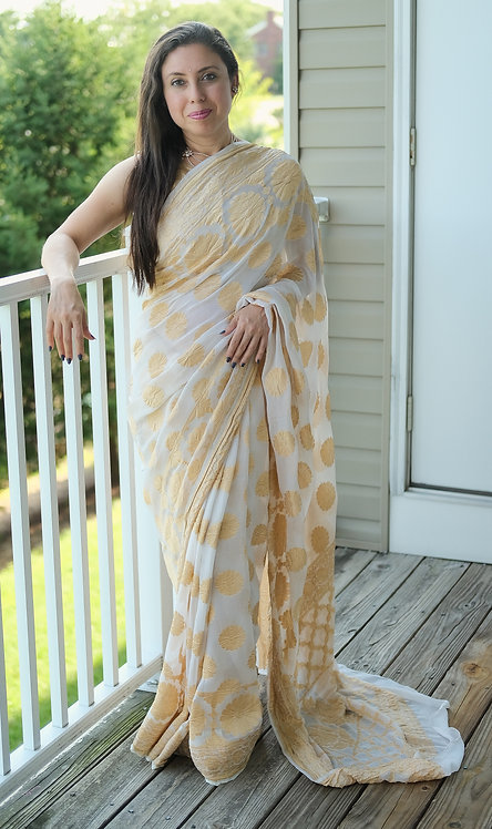 Khaddi Georgette Banarasi Saree in Off White and Gold