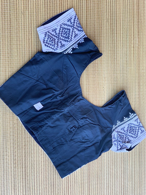 Grey Hand Embroidered Cotton Saree Blouse in Size 36