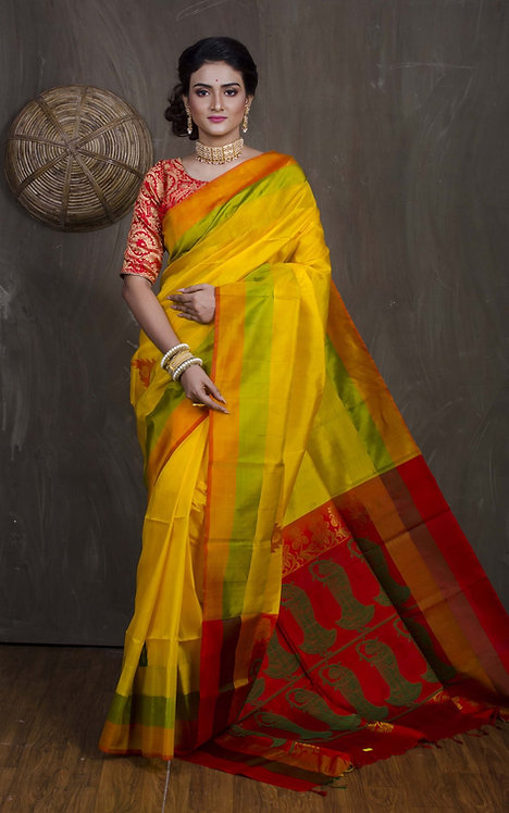 Soft South Silk Saree in Yellow, Red and Green