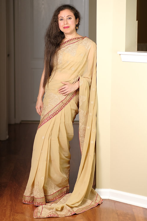 Georgette Embroidery Saree in Beige and Dark Red