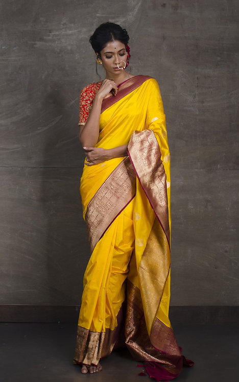 Pure Banarasi Silk Saree in Yellow and Maroon