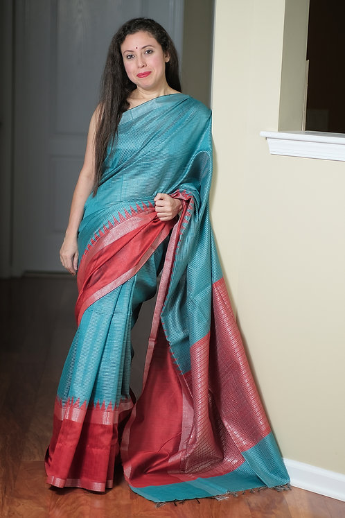 Semi Raw Silk Saree in Turquoise Blue, Red and Silver