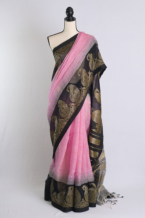 Paisley Border Linen Saree in Pink and Black