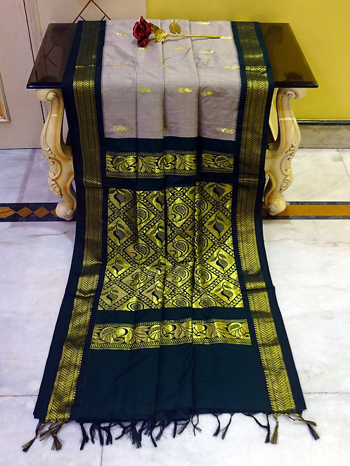 Soft South Cotton Gadwal Saree in Gray and Black
