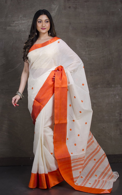 Bengal Handloom Cotton Saree with Starch in White and Orange