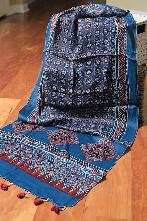 Pure Modal Silk Ajrak Stole in Blue