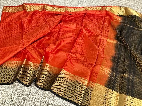 Art Silk Kanchipuram Saree in Orange and Black