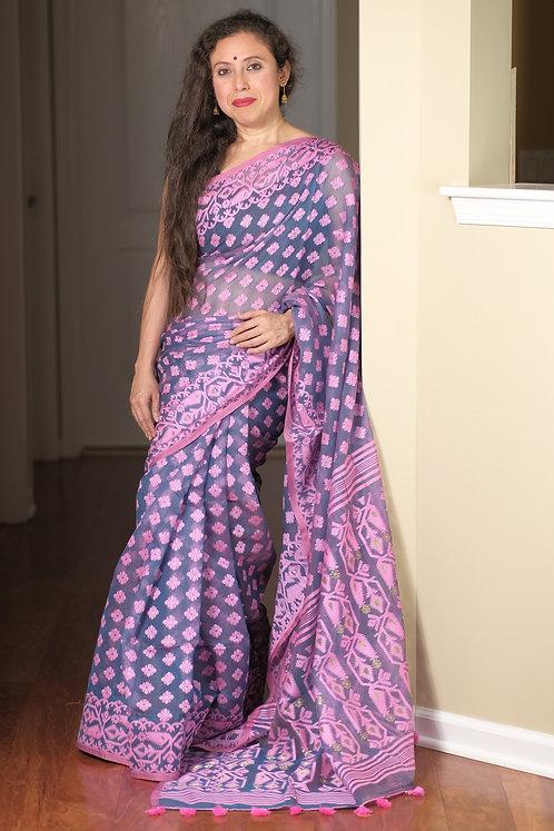 Soft Jamdani Saree in Bluish Gray and Pink