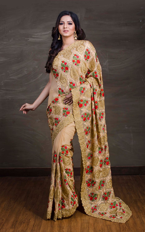 Kashmiri Work Georgette Saree in Beige and Gold