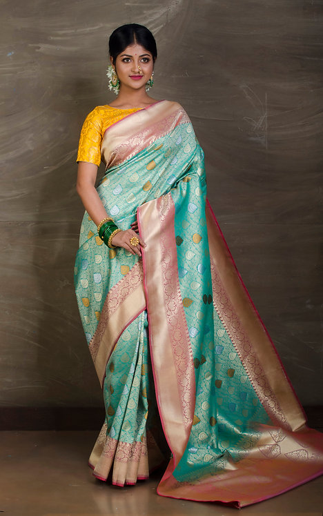 Semi Katan Brocade Banarasi Saree in Sea Green, Silver and Gold