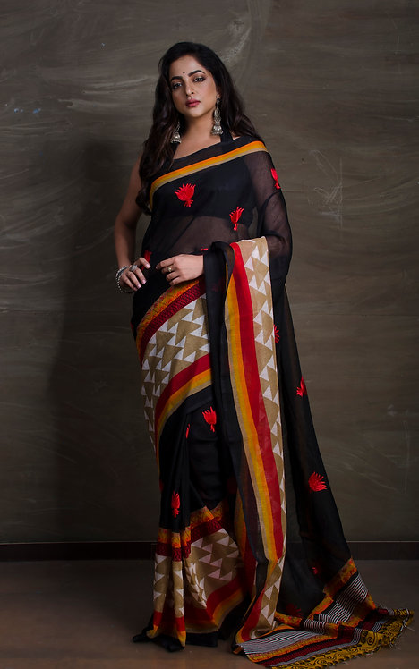 Art Silk Printed Saree with Embroidery in Black and Red