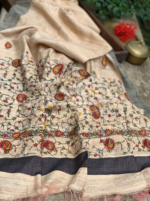 Purely Hand Embroidered Ghicha Tussar Dupatta in Beige