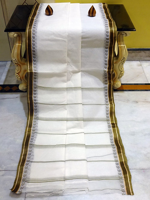 Bengal Handloom Cotton Saree with Starch in White and Hena Green