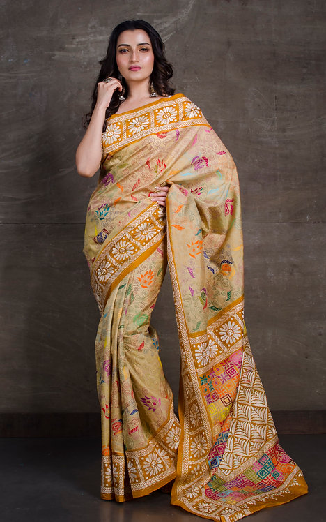 Hand Embroidered Kantha Stitched Silk Saree in Beige and Brown